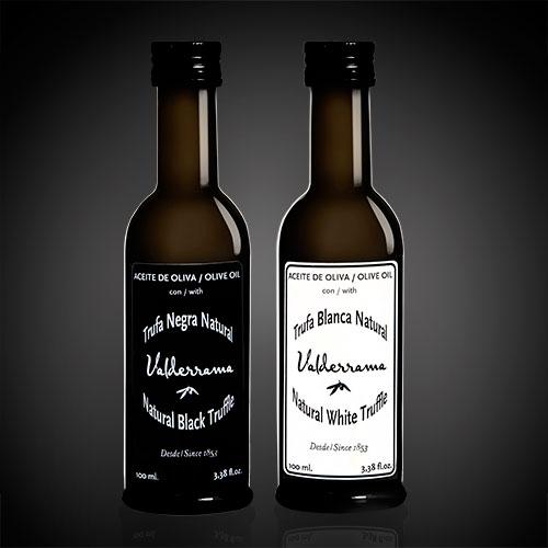 Zwarte en Witte Truffelolie van Valderrama in flessen van 100ml